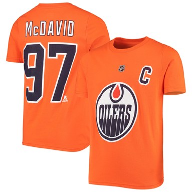Connor McDavid Edmonton Oilers Youth Player Name & Number T-Shirt - Orange