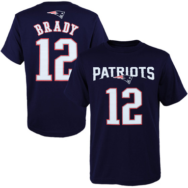 Tom Brady New England Patriots Youth Primary Gear Name & Number T-Shirt - Navy Blue