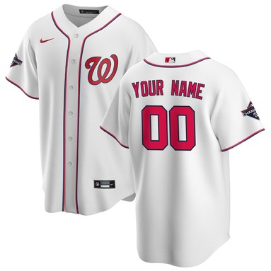 Washington Nationals Nike 2020 Home Replica Custom Patch Jersey - White