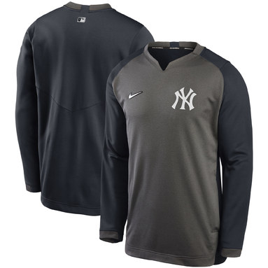 New York Yankees Nike Authentic Collection Thermal Crew Performance Pullover Sweatshirt - Charcoal/Navy