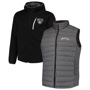 Brooklyn Nets G-III Sports by Carl Banks Cold Front 3-In-1 System Full-Zip Vest & Jacket Set - Heathered Gray/Black