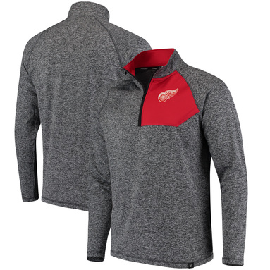 Detroit Red Wings Fanatics Branded Static Quarter-Zip Jacket - Heathered Gray/Red