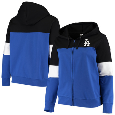 Los Angeles Dodgers New Era Women's Plus Size Colorblock French Terry Full-Zip Hoodie – Black/Royal