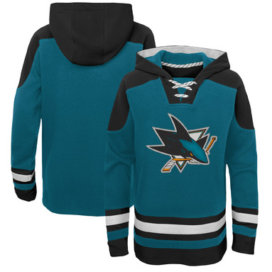 San Jose Sharks Youth Ageless Lace-Up Pullover Hoodie - Teal/Black