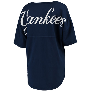 New York Yankees Women's Oversized Spirit Jersey V-Neck T-Shirt - Navy
