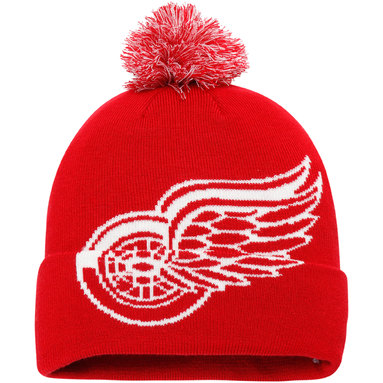 Detroit Red Wings Fanatics Branded Iconic Team Pop Cuffed Knit Hat with Pom - Red