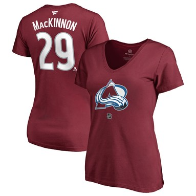 Nathan MacKinnon Colorado Avalanche Fanatics Branded Women's Authentic Stack Name & Number V-Neck T-Shirt - Burgundy