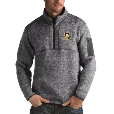 Pittsburgh Penguins Antigua Fortune 1/2-Zip Pullover Jacket - Charcoal