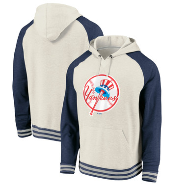 New York Yankees Fanatics Branded Cooperstown Collection Logo Pullover Hoodie - Oatmeal