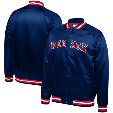 Boston Red Sox Mitchell & Ness Big & Tall Satin Full-Snap Jacket – Navy