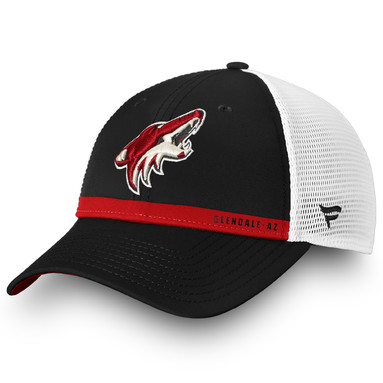 Arizona Coyotes Fanatics Branded Authentic Pro Rinkside Trucker Adjustable Hat – Black/White