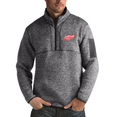 Detroit Red Wings Antigua Fortune 1/2-Zip Pullover Jacket - Charcoal