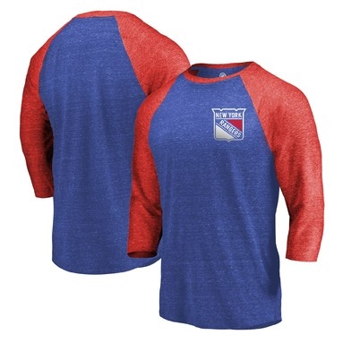 New York Rangers Fanatics Branded Refresh Shift 3/4-Sleeve Raglan T-Shirt - Royal/Red