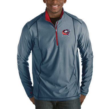Columbus Blue Jackets Antigua Tempo Desert Dry Half-Zip Pullover Jacket – Heather Navy