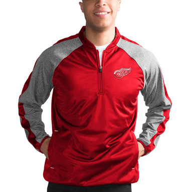 Detroit Red Wings G-III Sports by Carl Banks Fast Track Raglan Half-Zip Pullover Jacket – Red/Heathered Gray
