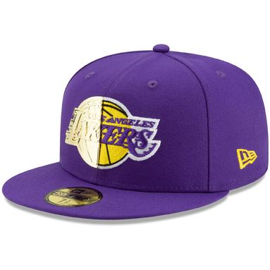 Los Angeles Lakers New Era Split Metal & Thread 59FIFTY Fitted Hat - Purple