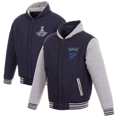 St. Louis Blues Fanatics Branded 2019 Stanley Cup Champions Reversible Poly-Twill Hooded Jacket - Navy/Gray