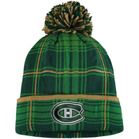 Montreal Canadiens Reebok St. Patrick's Day Cuffed Knit Hat with Pom - Green