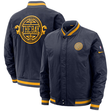 Golden State Warriors Nike City Edition Courtside Full-Zip Bomber Jacket – Navy