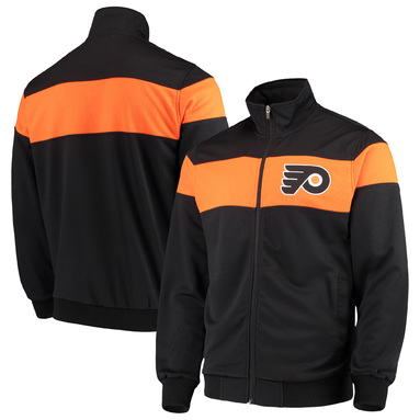 Philadelphia Flyers G-III Sports by Carl Banks Strength Track Jacket - Black/Orange
