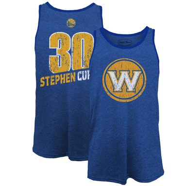 Stephen Curry Golden State Warriors Majestic Threads Name & Number Tri-Blend Tank Top - Royal