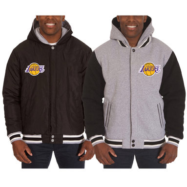 Los Angeles Lakers JH Design Two-Tone Reversible Fleece Hooded Jacket - Black/Gray