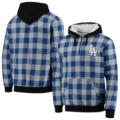 Los Angeles Dodgers Large Check Sherpa Quarter-Zip Flannel Jacket - Royal