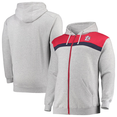 St. Louis Cardinals Big & Tall Tripod Fleece Full-Zip Hoodie - Heathered Gray/Red