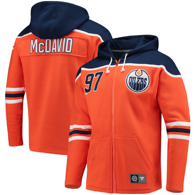 Connor McDavid Edmonton Oilers Fanatics Branded Breakaway Full-Zip Hoodie - Orange