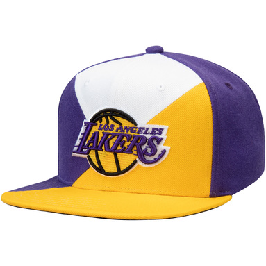 Los Angeles Lakers Mitchell & Ness Quadriga Adjustable Snapback Hat – Purple/Gold