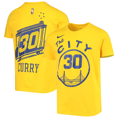 Stephen Curry Golden State Warriors Nike Youth Hardwood Classics Name & Number Performance T-Shirt - Gold