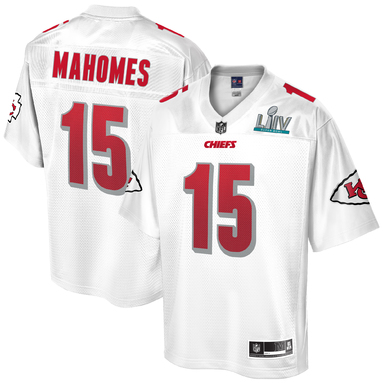 Patrick Mahomes Kansas City Chiefs NFL Pro Line Youth Super Bowl LIV Champions Jersey – White