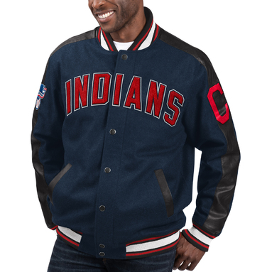 Cleveland Indians G-III Sports by Carl Banks Scrimmage Full-Snap Varsity Jacket - Navy