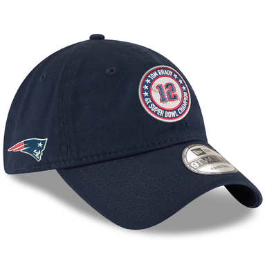 Tom Brady New England Patriots New Era 6-Time Super Bowl Champions GOAT Circle 9TWENTY Adjustable Hat – Navy