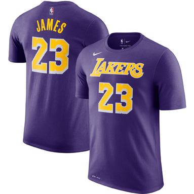 LeBron James Los Angeles Lakers Nike Player Name & Number Performance T-Shirt - Purple