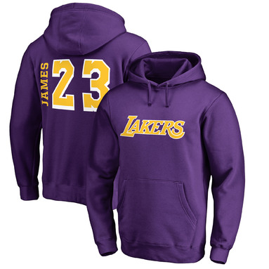 LeBron James Los Angeles Lakers Fanatics Branded Sidesweep Name & Number Pullover Hoodie – Purple