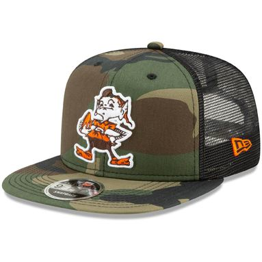Cleveland Browns New Era Historic Logo Trucker 9FIFTY Adjustable Snapback Hat - Woodland Camo/Black