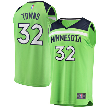 Karl-Anthony Towns Minnesota Timberwolves Fanatics Branded Fast Break Replica Jersey Neon Green - Statement Edition
