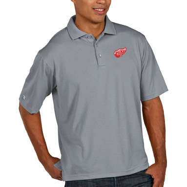 Detroit Red Wings Antigua Pique Xtra Lite Big & Tall Polo - Heather Gray
