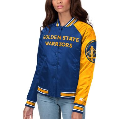 Golden State Warriors Starter Women's Courtside Polyfill Satin Full-Snap Jacket – Royal/Gold