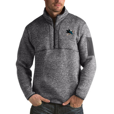San Jose Sharks Antigua Fortune Big & Tall Quarter-Zip Pullover Jacket - Heather Gray