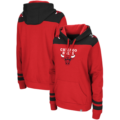 Chicago Bulls Majestic Triple Double Pullover Hoodie - Red/Black