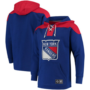 New York Rangers Fanatics Branded Breakaway Lace Up Hoodie – Royal/Red
