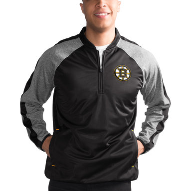 Boston Bruins G-III Sports by Carl Banks Fast Track Raglan Half-Zip Pullover Jacket – Black/Heathered Gray