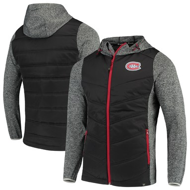 Montreal Canadiens Fanatics Branded Static Insulated Full-Zip Jacket - Black/Heathered Gray