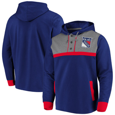 New York Rangers Fanatics Branded True Classics 3-Button Pullover Hoodie – Blue/Heathered Gray