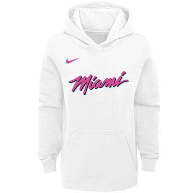 Miami Heat Nike Youth Earned Edition Logo Essential Pullover Hoodie - White