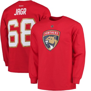 Jaromir Jagr Florida Panthers Reebok Long Sleeve Name & Number T-Shirt - Red