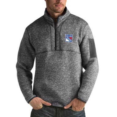 New York Rangers Antigua Fortune 1/2-Zip Pullover Jacket - Charcoal