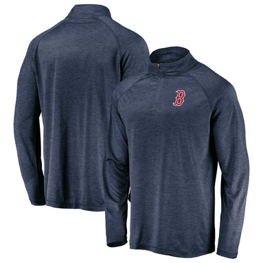 Boston Red Sox Fanatics Branded Iconic Striated Primary Logo Raglan Quarter-Zip Pullover Jacket - Navy